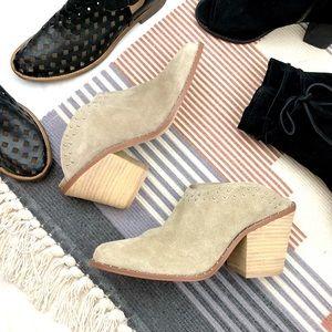 Beige Suede Block Heel Studded Western Mules